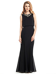Lanting Bride® Trumpet / Mermaid Mother of the Bride Dress Floor-length Sleeveless Chiffon with Beading / Ruching