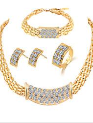 Lucky Doll Women's Luxury Gem 18K Gold Plated Necklace & Earrings & Bracelet & Ring Jewelry Sets
