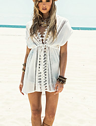 Women's Straped Cover-Ups , Solid One-Pieces Cotton White