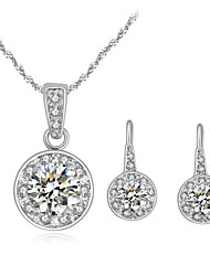 Jewelry Set Shining Crystal Bling Round Crystal Pendant Necklace Earrings