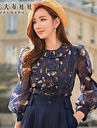 Femme Manches Evasées Chemise Aux s,Imprimé Décontracté/Quotidien Printemps Manches Longues Collerette Bleu Polyester Translucide