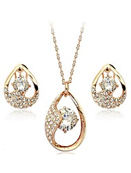 Crystal Jewelry Set Classic Elegant Unique Design Water Drop Pendant Necklace Earrings Bracelet Girlfriend Gift