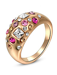 T&C Women's Christmas Gift Colorful Crystals Rings For Wedding Rose Gold Plated Fashion Jewelry