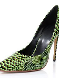 Women's Shoes Leather Stiletto Heel Heels Heels Wedding / Party & Evening / Dress Yellow / Green / Purple