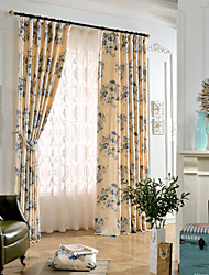 (One Panel)Polyester Cotton Ink Painting Blue Flowers Soft Flocking Print Blackout Lined Curtain