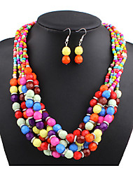MPL European fashion multi Beaded Necklace Earrings Set