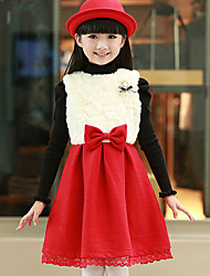 Girl's Red Dress,Bow Polyester Winter