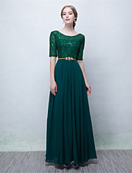 Formal Evening Dress A-line Scoop Floor-length Chiffon with Lace / Sequins
