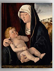 картина маслом мать с ребенком ручной росписью холст с растянутыми рамку