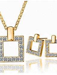 Jewelry Set Shining Crystal Elegant Square Pendant Necklace Earring Gift for Bride(Assorted Color)