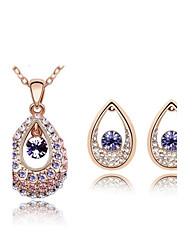 Jewelry Set Shining Crystal Water Drop Pendant Necklace Earring(Assorted Color)