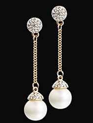 Long pearl earrings gold color beautiful pearls Earrings