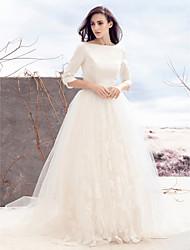 Lanting Bride A-line Wedding Dress-Sweep/Brush Train Bateau Satin / Tulle