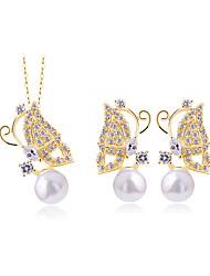 Jewelry Set Elegant Crystal Butterfly Pendant Necklace Earrings Girlfriend Gift