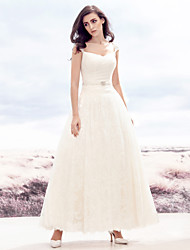A-line Wedding Dress - Ivory Ankle-length Sweetheart Lace