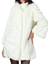 Warm Long Sleeve Standing Collar Faux Fur Party/Casual Coat