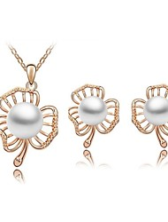 Jewelry Set Classic Elegant Unique Design Imitation Pearl Flower Pendant Necklace Earrings Bracelet Girlfriend Gift