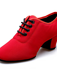 Latin Women's Dance Shoes Heels Canvas Cuban Heel Black/Red