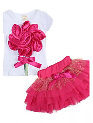Girl's Large Flower Girl T-shirt + Veil Tutu Skirt Suit Cute Party Kids Clothing  Sets