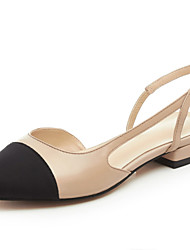 Women's Shoes Leather Flat Heel Ankle Strap / Round Toe Flats Dress Black / Almond