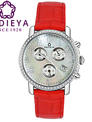 KEDIEYA Red Genuine Leather 60 Zircon Diamond Mosaic Calendar Date Chronograph Ladies Womens Watches Gifts Cool Watches Unique Watches