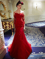 Formal Evening Dress - Ruby Trumpet/Mermaid Scoop Court Train Lace