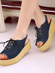 Women's Shoes Leatherette Platform Creepers Sandals Outdoor / Dress / Casual Blue / Royal Blue