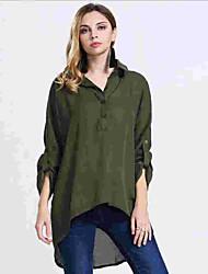 Women's Solid White / Black / Green Shirt , Shirt Collar ½ Length Sleeve
