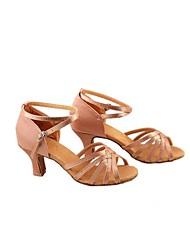 Women's Dance Shoes Latin Satin Low Heel Black / Blue / Brown / Leopard