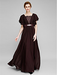 Sheath / Column Mother of the Bride Dress Floor-length Short Sleeve Chiffon with Beading / Crystal Detailing / Criss Cross