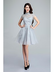 Cocktail Party Dress Ball Gown High Neck Short / Mini Tulle with Appliques