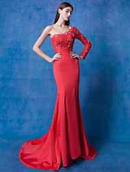 Formal Evening Dress - Ruby Trumpet/Mermaid Jewel Sweep/Brush Train Lace / Tulle