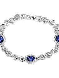 Fashion Leaf Women's Blue Rhinestone Platinum Plated Tin Alloy Chain & Link Bracelet(White)(1Pair)
