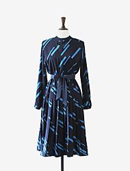 trabalho de estilo coreano das mulheres / casual / dia vestido de chiffon geométrica, fibra de bambu gola midi