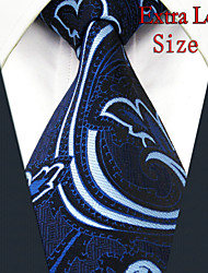 Men's Tie Paisley  Navy Blue 100% Silk New Fashion Casual