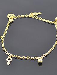 cheville pieds nus 24cm mode inoxydable chaîne d'or de bijouterie en acier pied féminin (1pc): l
