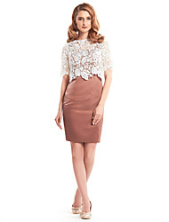 Lanting Sheath/Column Mother of the Bride Dress - Brown / Ivory Short/Mini Half Sleeve Lace / Satin