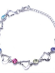 New Women Fashion Blue Sliver Plated Crystal Rhinestone Heart Charm Bracelet Bangle Gift Jewelry