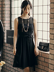 Korean Style Women's Vintage / Casual / Day Solid Little Black Dress , Round Neck Mini Others