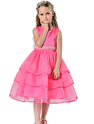 Toddler Girl's Green / Pink / Purple / Red / White Dress , Dresswear Polyester /Organza Floral Evening Party Dresses