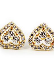 Earring Heart Stud Earrings Jewelry Women Wedding / Party / Daily / Casual Stainless Steel 2pcs Gold