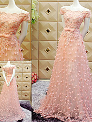 TS Couture® Formal Evening Dress - Pearl Pink / Sky Blue Sheath/Column Off-the-shoulder Sweep/Brush Train Tulle