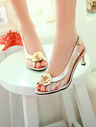 Women's Shoes Transparent Heel Heels / Peep Toe Sandals / Heels Outdoor / Dress / Casual Black / Silver / Gold