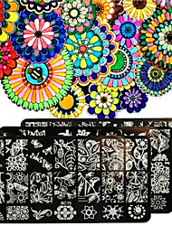 Nail Polish Scraper Art Forest Garden Plants Stamping Image Plates Set Manicure Stencil Tool