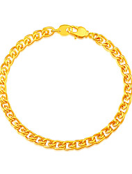 18K Chain Bracelet Gold Plated Jewelry Wholesale Trendy 20 CM 5.3 MM Wide Chain & Link Bracelet Men Jewelry B40061