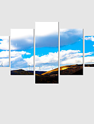 5 Panels Modern Wall Art Landscape Paintings White Clouds Canvas Painting Pictures Artwork Print On Canvas(No Frame)