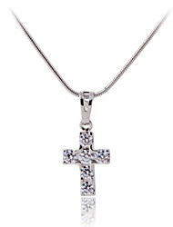 AAA Zircon Silver Platinum(Pt)Plated Titanium Steel Cross Shape Pendant (Without Chain)Imitation Diamond Birthstone