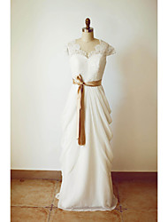 A-line Wedding Dress Floor-length V-neck Chiffon with Button / Lace / Sash / Ribbon