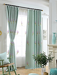 Linen And Cotton Blend Elegant Purple Lavender Embroidery Room Darkening Curtain Two panels