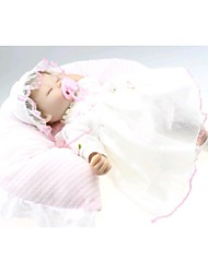 NPKDOLL Reborn Baby Doll Soft Silicone 18inch 45cm Magnetic Lovely Lifelike Cute Boy Girl Toy White Dress Eyes Close